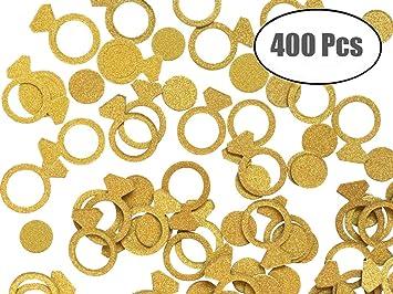 JYOHEY 400 Stück Konfetti Hochzeit Gold Roségold Confetti Tischdeko Hochzeit  Engagement Deko Ringform Confetti (200 XRingform ...