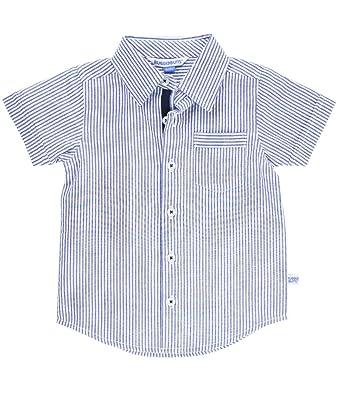 2ff7e9b38 RuggedButts Baby/Toddler Boys Blue Seersucker Short Sleeve Button Down Shirt  - 3-6m