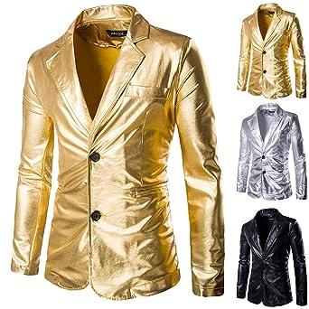 Amazon.com: Blazer Chaqueta para hombre con estampado dorado ...