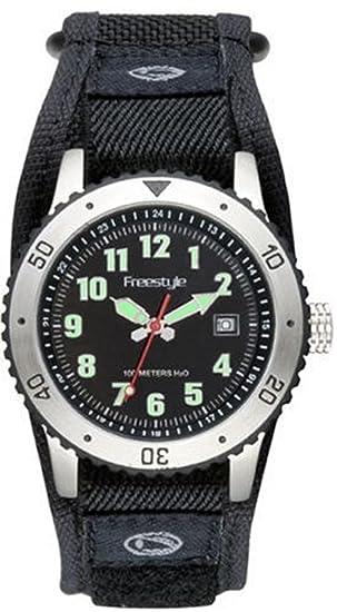 Freestyle 60301 AF espía Hombres de acero analógico reloj negro correa de nailon: Amazon.es: Relojes