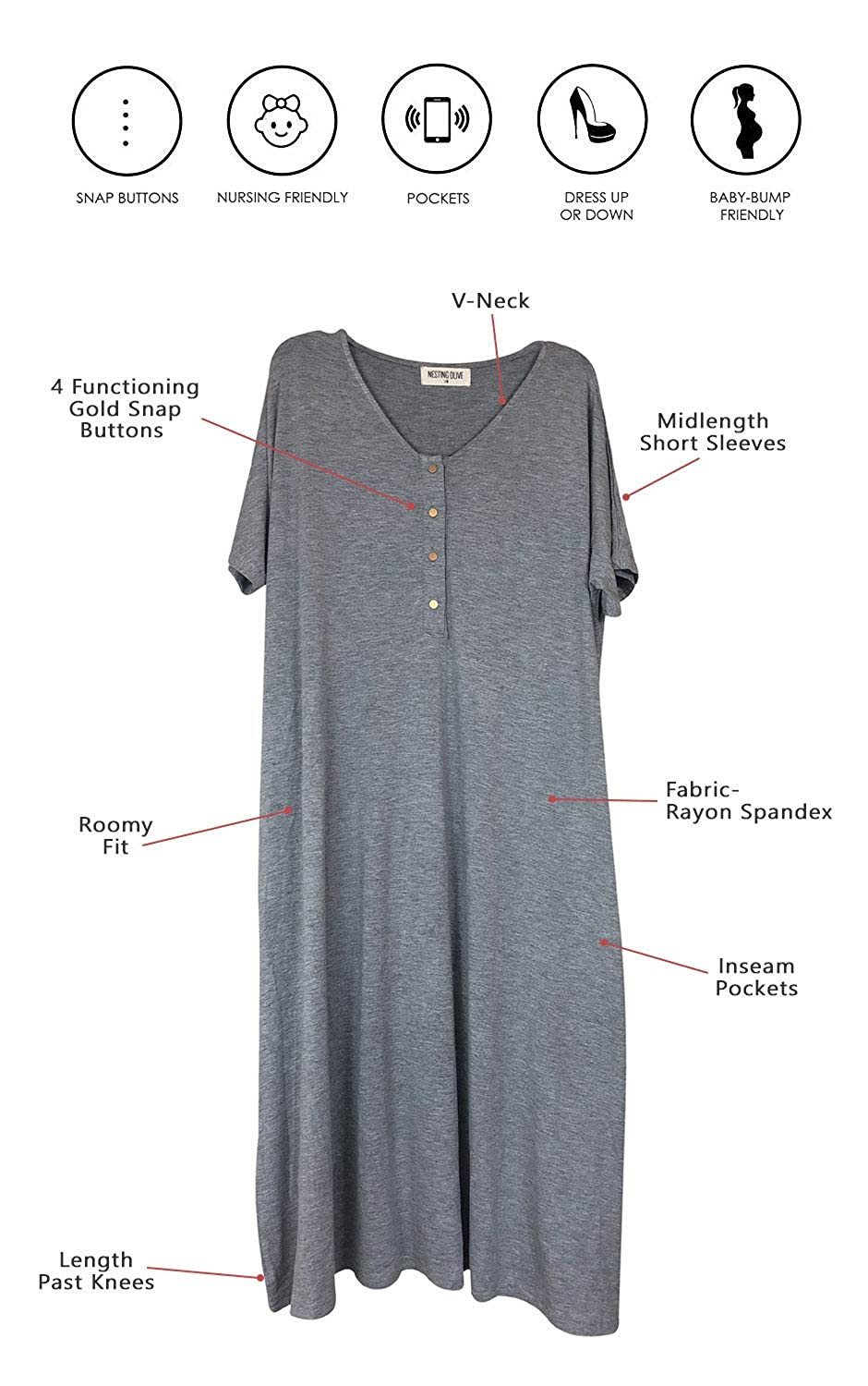 Amazon.com: Nesting Olive Buttery Soft Modern House Dress ...