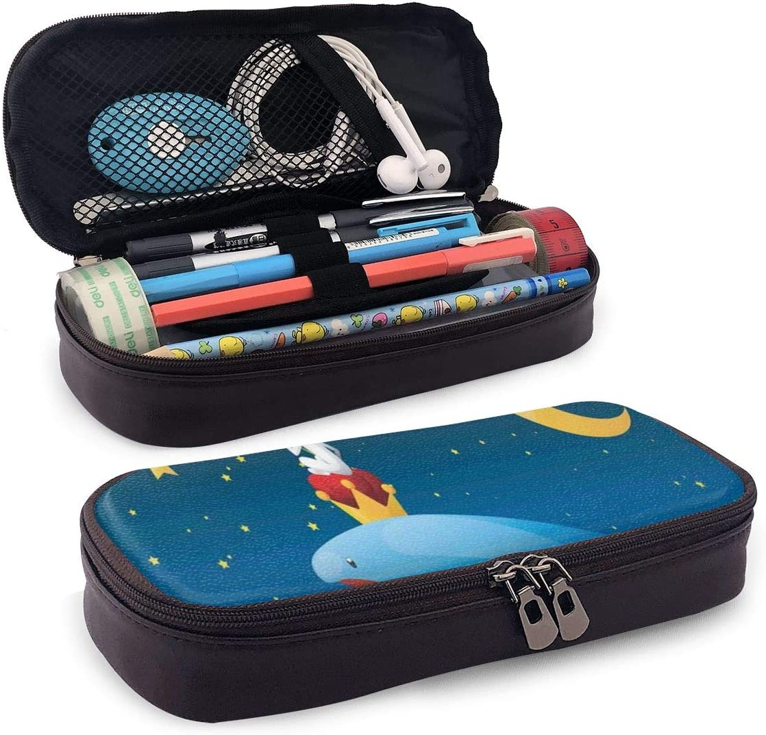 Pencil Case Big Capacity Storage Holder Desk Pen Pencil Marker Stationery Organizer Pencil Pouch with Zipper,King Whale On Top Of Night Clouds With Stars And Moon With Child Sitting On: Amazon.es: Oficina