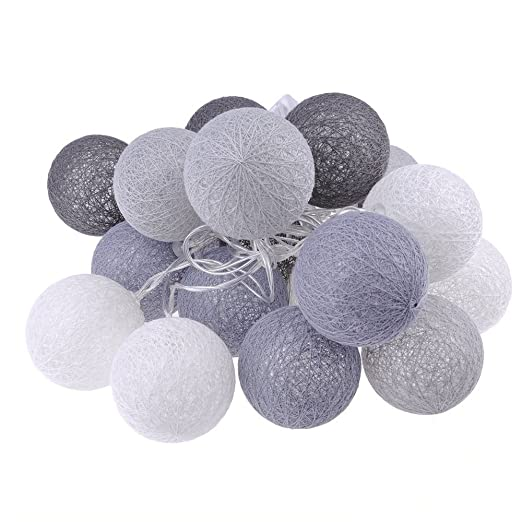 20 LED Globe Cotton Ball String Fairy Lights Wedding Party Lamp In//Outdoor Decor