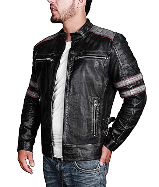 7e5c1d87d0ca Retro Jackets for Men Mens Retro Vintage Style Distress Black Biker Leather  Jacket Motorcycle Costume (