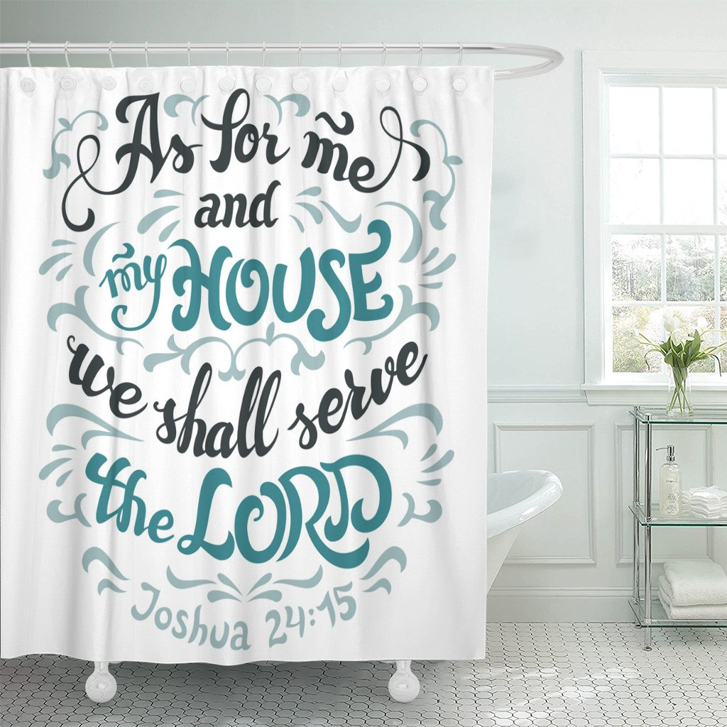 Emvency Shower Curtain As for Me and My House We Shall Serve The Lord Joshua 24 15 Bible Quote Hand Lettering White Waterproof Polyester Fabric 72 x 72 inches Set with Hooks by Emvency