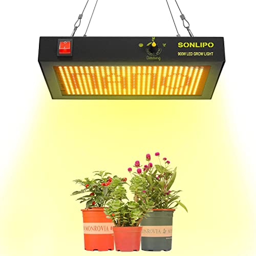 Sonlipo LED Grow Light 900W Full Spectrum for Vegetable and Flowers Dimmable High Brightness Fanless Design Noiseless LED Growing Lamp for All Growing Stage of Indoor Plants