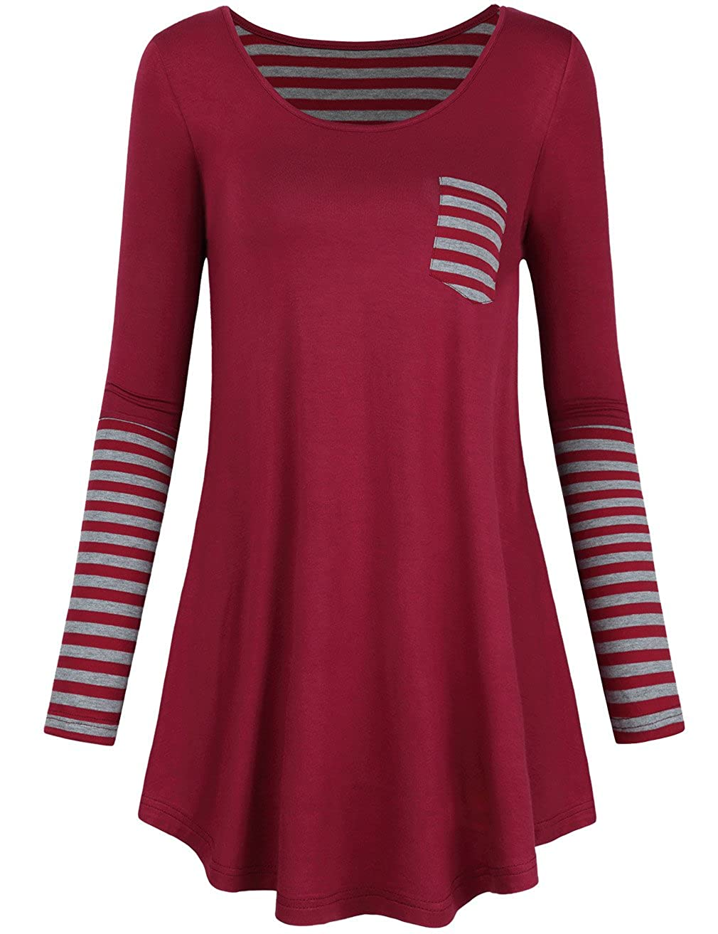 EMVANV Women's Soft Casual Back and Sleeve Stripe A-Line T Shirt Dress Tunic Top 022*USFBAAM00050[USEM]