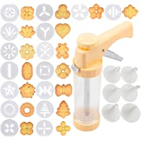 Cookie Press Gun Kit, Biscuit Maker Cookies Press DIY Baking Decoration Supplies for Cookies Cake Cheese Dessert Decorative Tools with 16 Discs and 6 Icing Tips, Comfort Grip Cookie Maker Press