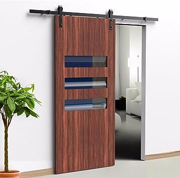 Juego de armario de madera para puerta corredera de una sola puerta de madera, acero al carbono moderno europeo, negro: Amazon.es: Bricolaje y herramientas
