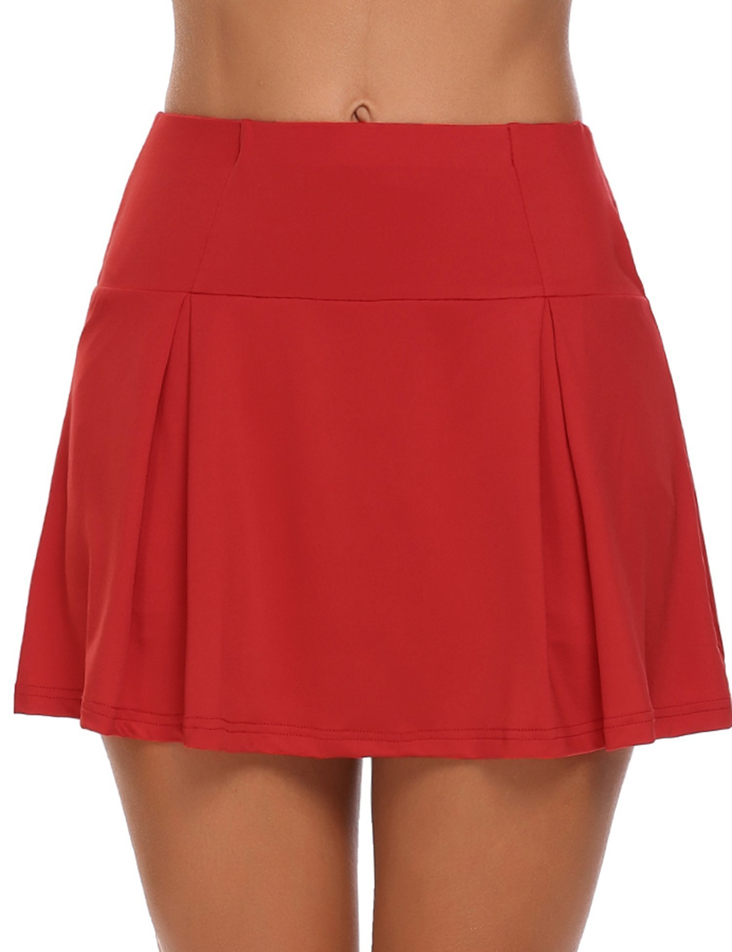Zeagoo Women's Running Skirt Tennis Skort High Waist Pleated Athletic Shorts, Red, Large