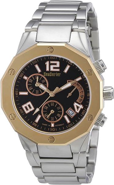 Sea Surfer 7566,4286 - Reloj analógico de Cuarzo para Hombre, Correa de Acero Inoxidable Chapado