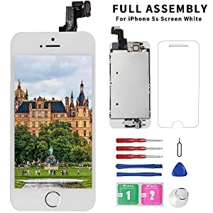 for iPhone 5S Screen Replacement White - Diykitpl for iPhone 5S Replacement Screen 4.0 inch Full Assembly with Home Button,Front Camera,Earpiece Speaker for A1453, A1457, A1530, A1533 + Tool