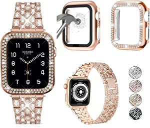 3-Pack JOHIPI Compatible with Apple Watch Band 38mm 40mm 42mm 44mm + Case, Women Jewelry Bling Diamond Metal Strap with Diamond Case and Glass Screen Protector Case For iWatch Series SE/6/5/4/3/2/1 (Rose Gold, 40mm)