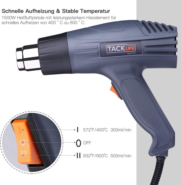 Tacklife HGP69AC Pistolet /à air chaud 2000 W 230 V 50 Hz 2 temp/ératures et flux dair 400 /°C et 600 /°C avec 4 buses et protection contre la surchauffe
