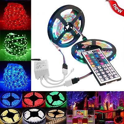 10M 3528 SMD RGB 600 LED Strip Lights String Tape+44 Key IR Remote Control : Garden & Outdoor