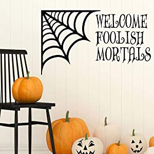 Tamengi Halloween Decoration | Welcome Foolish Mortals | Spiderweb Silhouette Wall Decal - Fall Vinyl Decor for The Home, Office Or Classroom 27.6