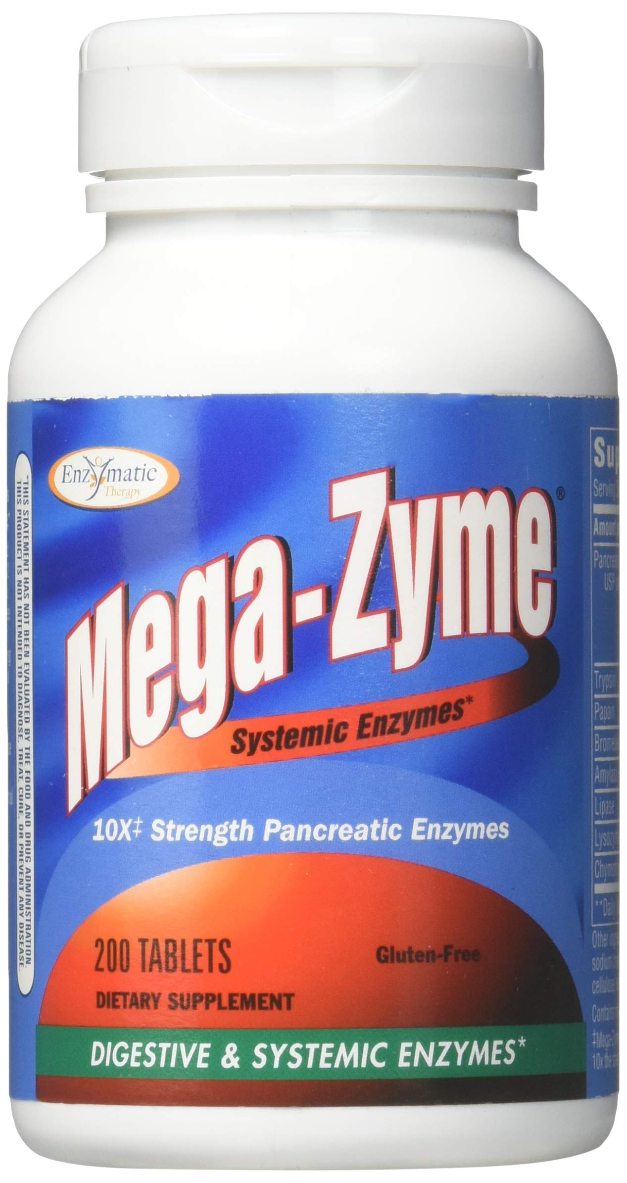 Enzymatic Therapy Mega-Zyme Gluten-Free 10X Strength Pancreatic Enzymes, 200 Count by Enzymatic Therapy