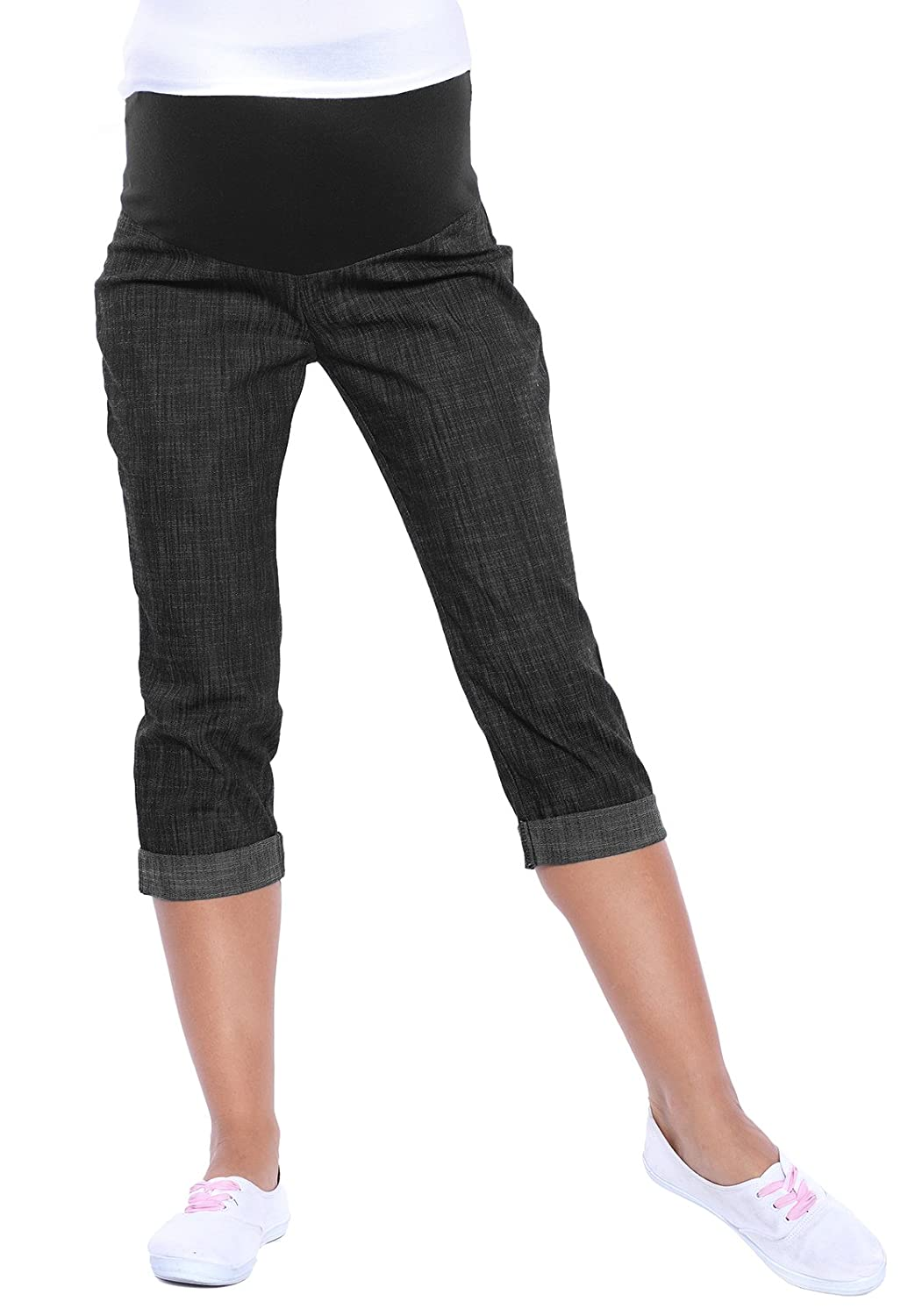 Mija - Maternity Cropped Trousers Over Bump ADJUSTABALE 3012