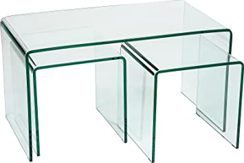 Hermosa Minerva Bent Curved Coffee And Side Table Set Glass, Clear, 86 X 46