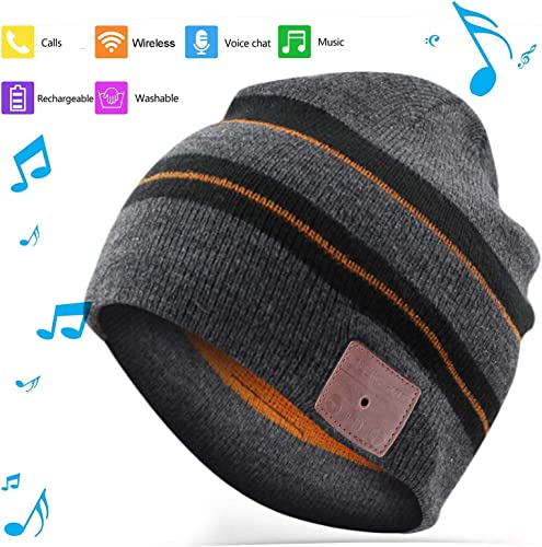 BGJOY Music Hat Wireless Beanie Smart Hat Mens Gifts Womens Gifts Winter Knitting Beanie Cap with Earphones Built-in Microphone for HandFree Calling Music Men Women Black with Brown