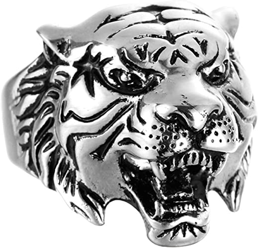 Bishilin Sterling Silver Mens Rings lion Head Anniversary Partner Rings Silver Black Size 9