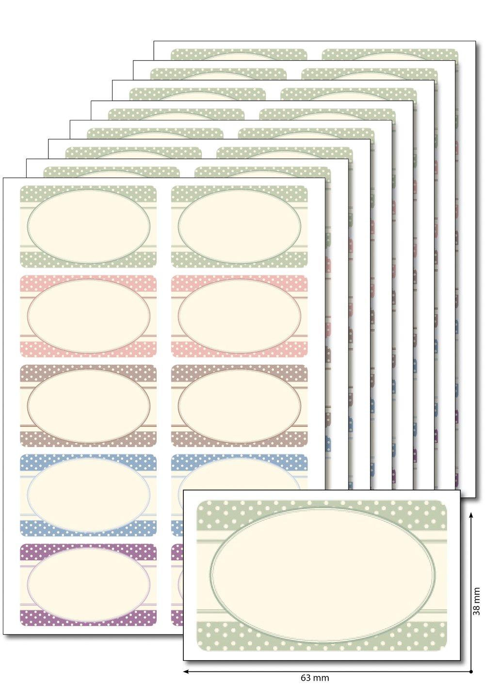 80 Etiketten \'Homemade pastell\' zum Bedrucken, Beschriften, DIN A5 ...