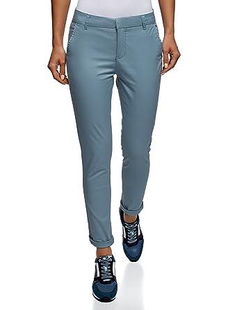 6513c909 oodji Ultra Women's Cotton Chino Pants, Blue, UK 6 / EU 36 / XS