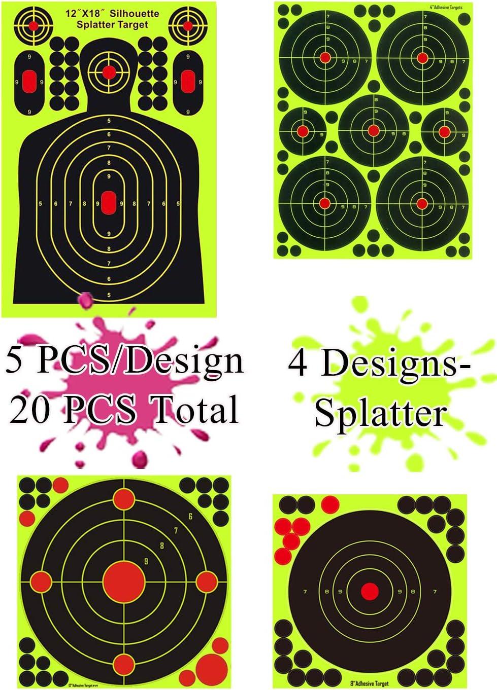 Long Range 20pcs Shooting Paper Target Sticker Splatter Reactive Targets Short