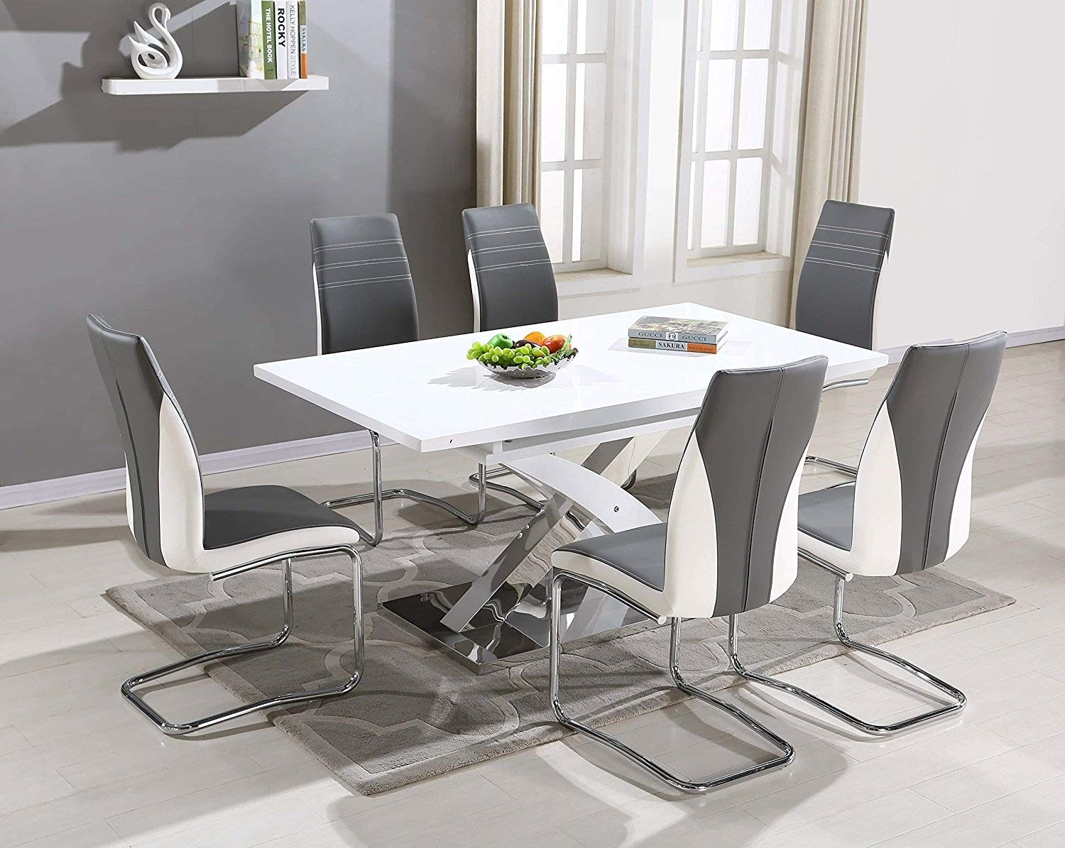 Astonishing Pescara Dining Table Set And 4 6 8 Upholstered Padded Grey And White Faux Leather Chairs By Furnitureone Table 6 Chairs Download Free Architecture Designs Scobabritishbridgeorg
