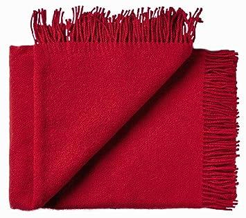 Rote Wolldecke Aus 100 Neuseelandischer Schurwolle Ca 200x130cm