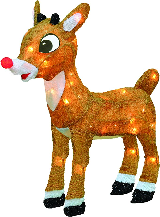 """Product Works 8/"""" Pre Lit Rudolph The RED Nosed Reindeer Christmas Pathway Mar"""