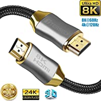 TERSELY 8K HDMI 2.1 Cable, 1m 3ft HDR 8K 48Gbps 8K@60Hz 4K@120Hz Support HDCP 3D HDMI 28AWG UHD Nylon Net Zinc Alloy Hood Gold Plated Connector Cable for PS4 PS5 SetTop Box HDTVs Projectors