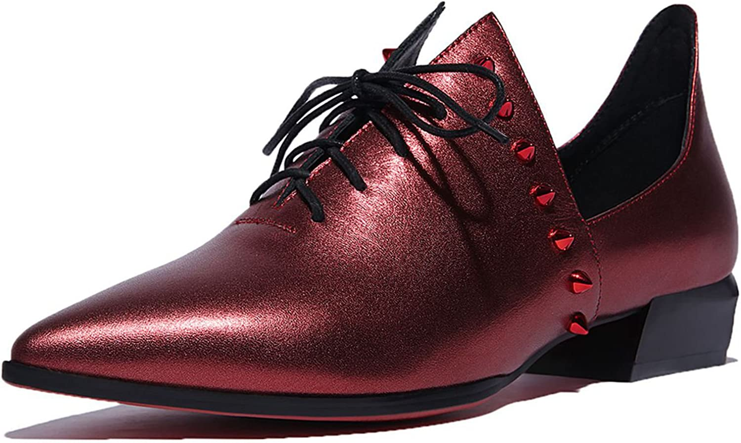 Vimisaoi Womens Rivet Genuine Leather Lace up Pointed Toe Loafers Shoes Oxfords