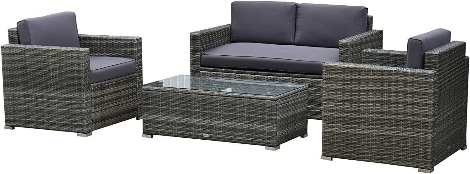 Outsunny 4-Piece Cushioned Patio Furniture Set, with 2 Chairs, Sectional, and Glass Coffee Table, Rattan Wicker, Grey