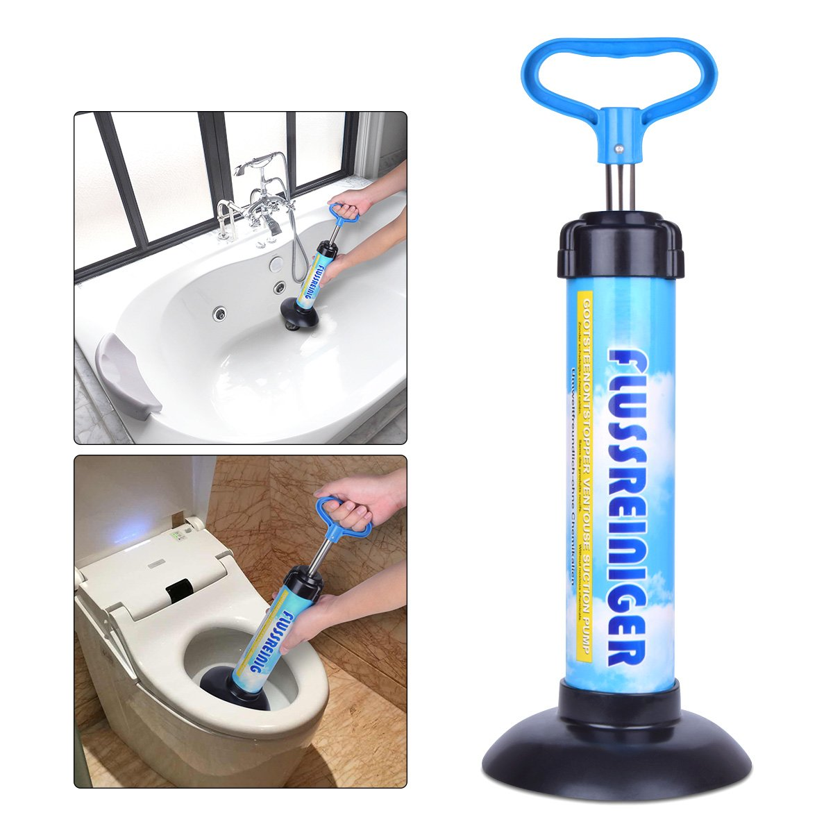 Samshow - Toilet Plunger Powerful Manual Multi Drain Plunger Suitable for Bathtubs,Toilets, Showers (Blue)
