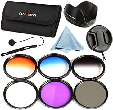 Microfiber Lens Cleaning Cloth K/&F Concept 67mm Slim Lens Filter Kit Slim FLD Slim CPL Slim UV Slim Graduated Color Blue Orange Gray//Neutral Density ND4 Filters Set For DSRL Camera Center Pinch Lens Cap//Cap Keeper Flower Petal Lens Hood Filter Pouc