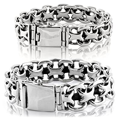 0803f5cdad9e4d VY JEWELRY 925 Sterling Silver X Biker Men Bracelet Style Big - Made in  Thailand -