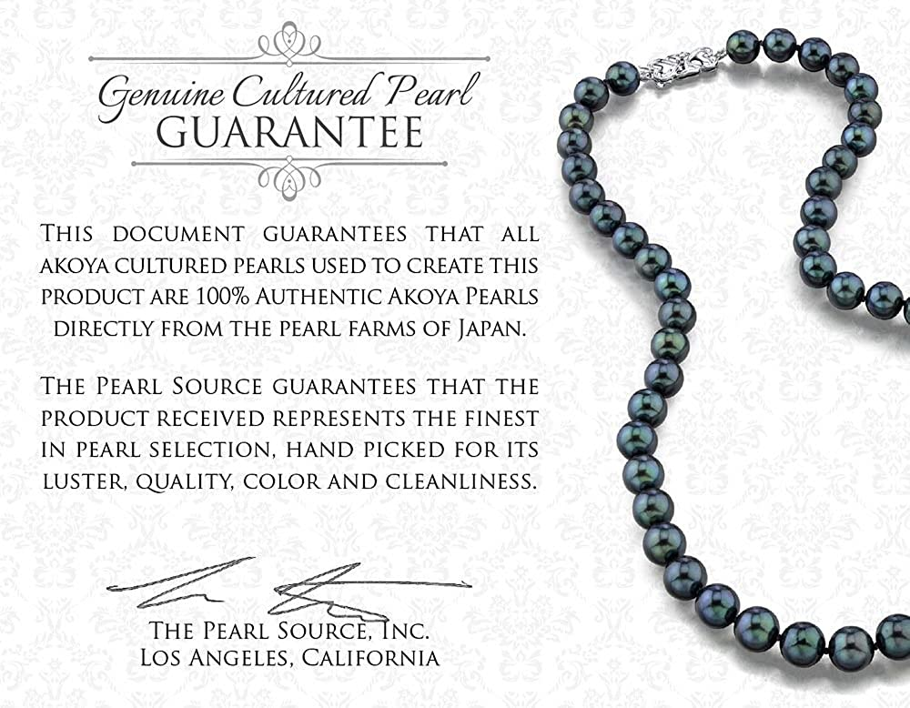THE PEARL SOURCE 14K Gold 6.5-7.0mm Round Genuine Black Japanese Akoya Saltwater Cultured Pearl Necklace in 18 Princess Length for Women