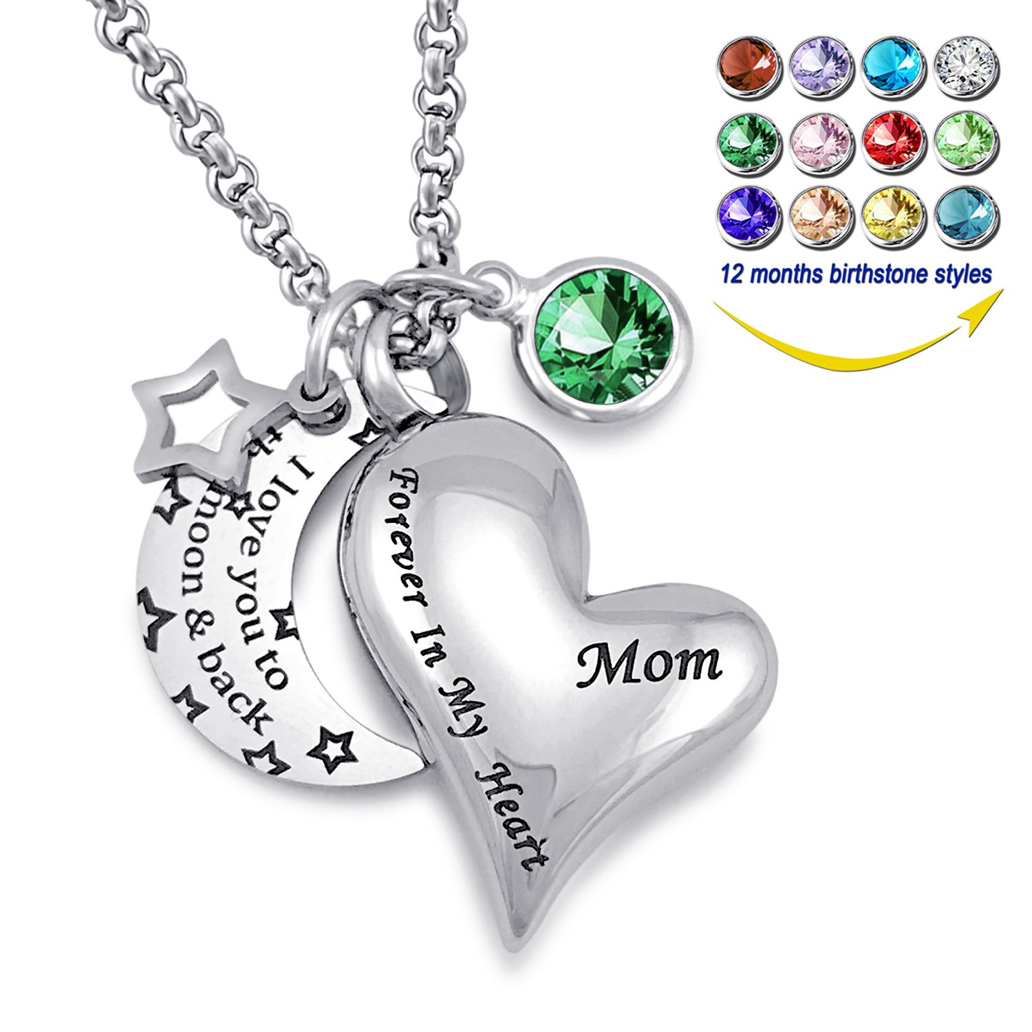 YOUFENG Urn Necklaces for Ashes I Love You to the Moon and Back for Mom Cremation Urn Locket Birthstone Jewelry (May urn necklace)