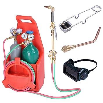 SHUTAO Kit de Herramientas de Soldadura Profesional portátil con Tanques de oxígeno de acetileno Recargables: Amazon.es: Hogar