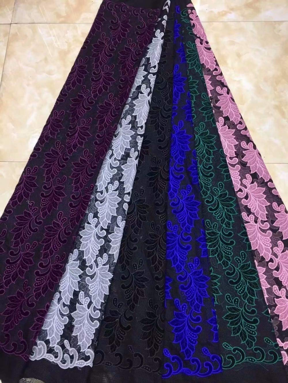 Laliva Black African Lace Fabric African Tulle Lace Fabric with Nice Velvet French Net Lace for Women Dress - (Color: 2)