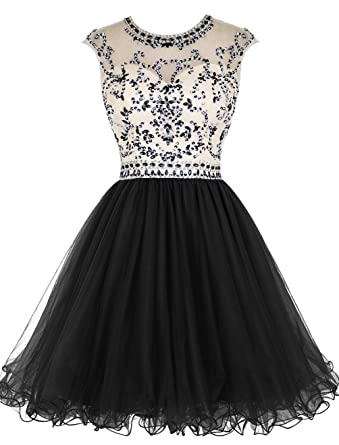 Cdress Tulle Short Homecoming Dresses Beaded Cocktail Gowns Junior Prom Dress Black US 2