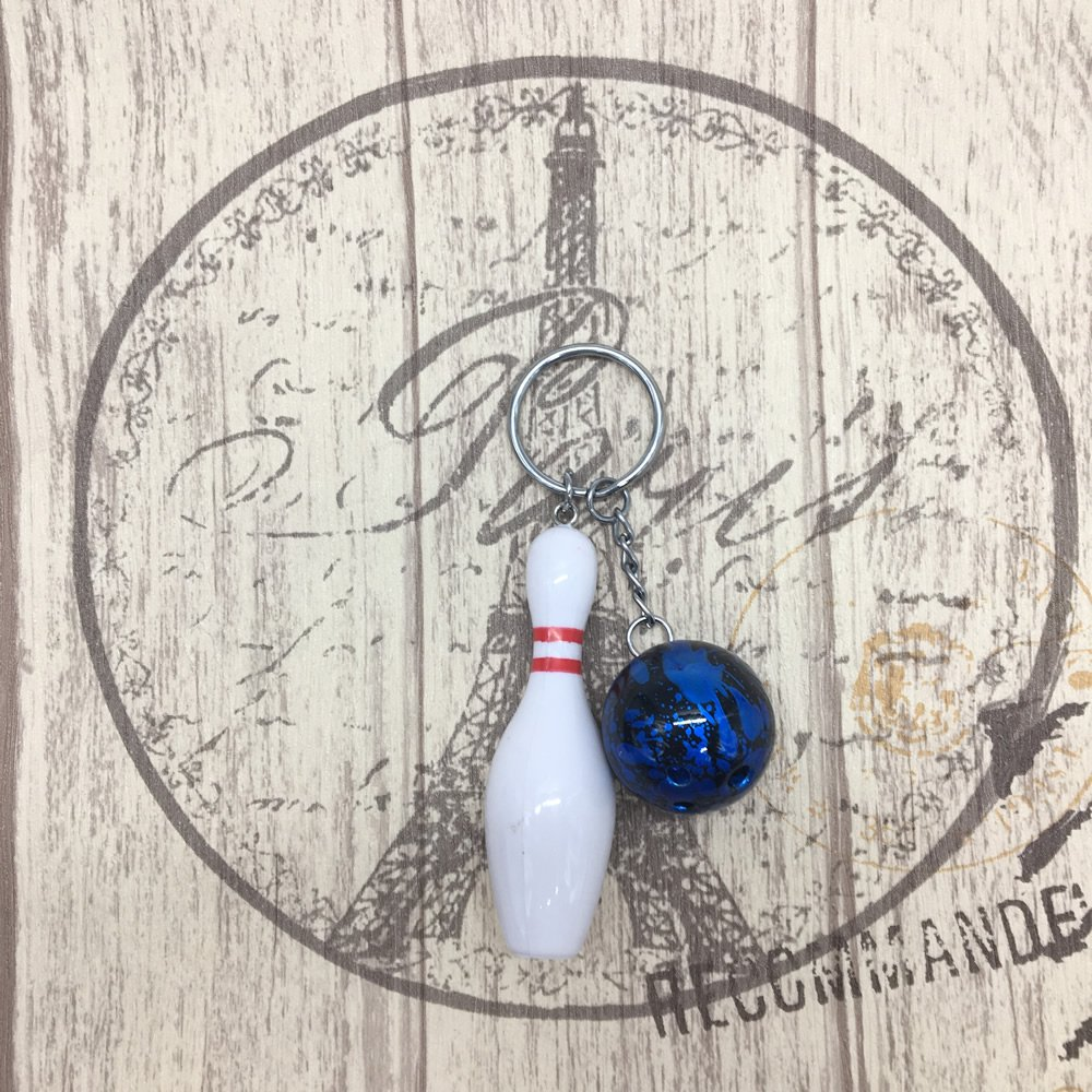HUELE 4PCS Simulation Mini Bowling Key Chains Personality bowling ball Keychain Keyring Key Holder Promotion Gift Bowling Party Favors
