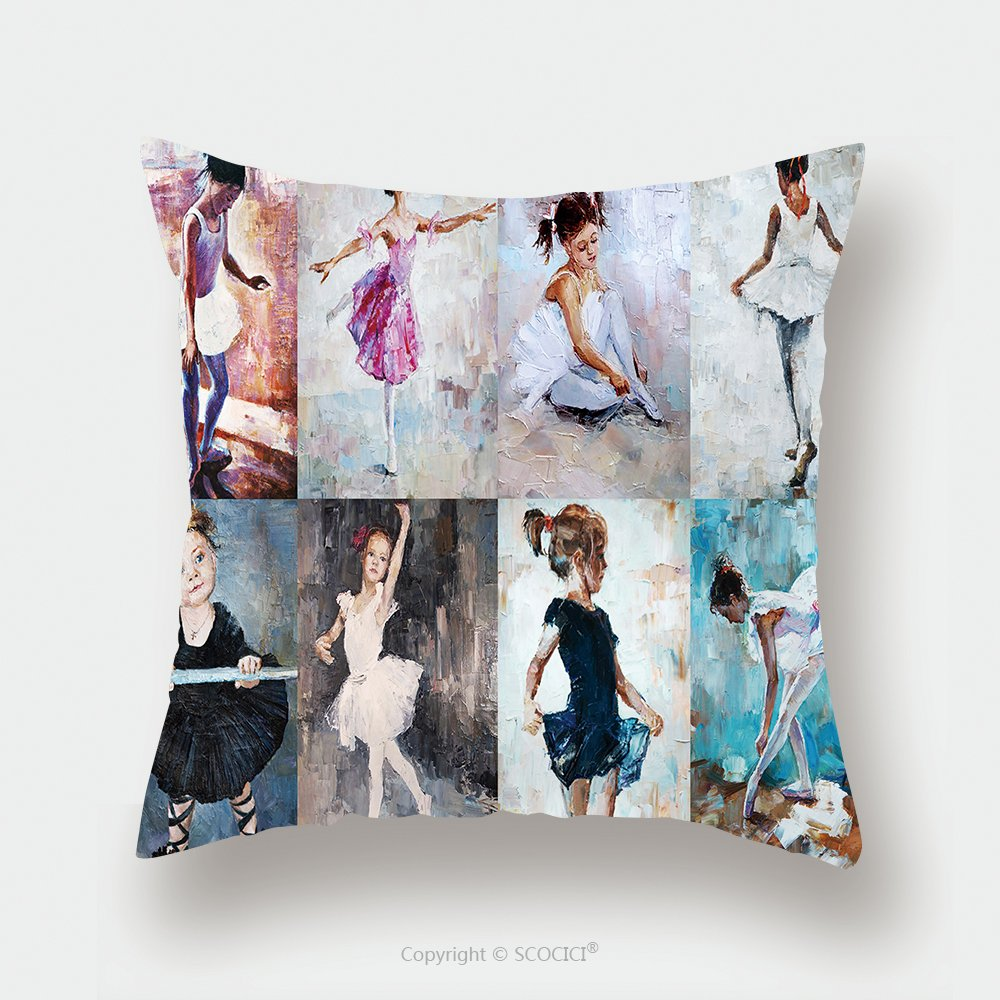 Custom Satin Pillowcase Protector Oil Painting Girl Ballerina Drawn Cute Ballerina Dancing Collage 389490241 Pillow Case Covers Decorative by chaoran