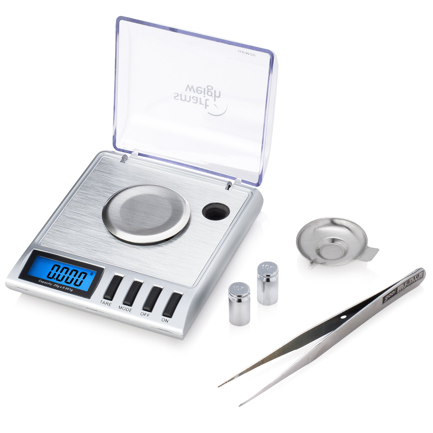 Smart Weigh GEM20 High Precision Digital Milligram Jewelry Scale, 20 x 0.001 Gram, Reloading, Jewelry and Gems Scale, Calibration Weights and Tweezers Included