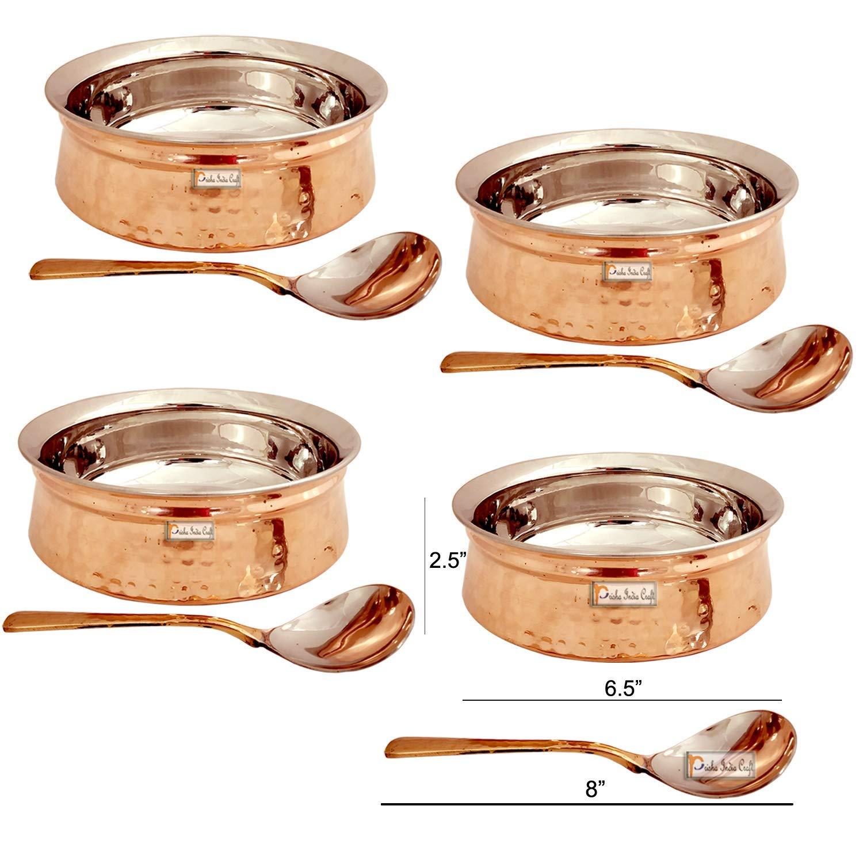 Prisha India クラフトステンレススチール 銅製ハンディボウル サービングスプーン4本 サーブウェア&テーブルウェア付き   容量750 ml 3 No   4個セット   B07N7J8GCR