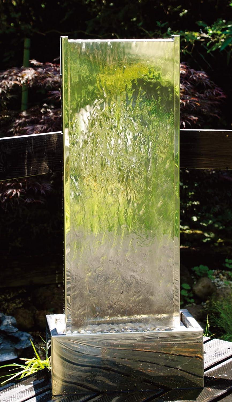 Köhko Springbrunnen Muro I Höhe ca 95 cm mit LED Beleuchtung aus Edelstahl Wasserwand Wasserspiel für Garten Terrasse