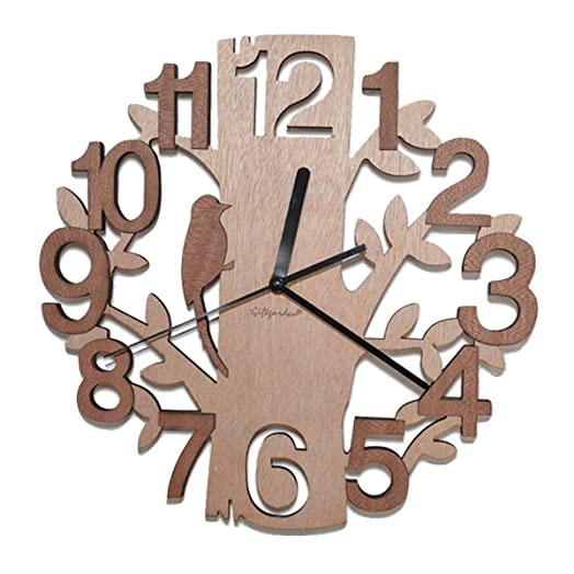 Giftgarden Unique Contemporary Personalised Tree Shaped Wooden Modern Home Decorative Living Room Wall Clock Decor