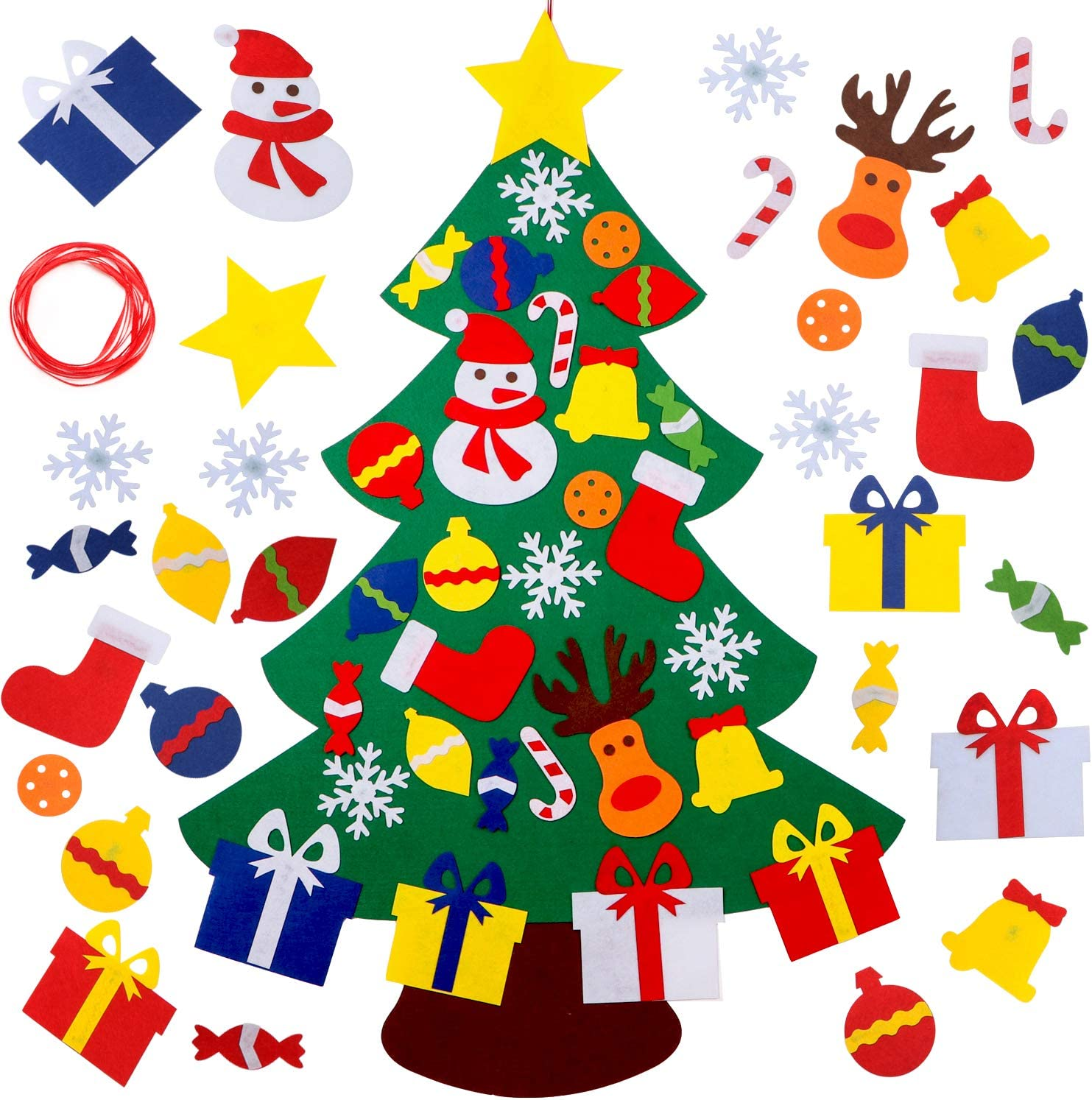 YEAHBEER Felt Christmas Tree for Kids,3.2FT DIY Christmas Tree with 30 Detachable Christmas Ornaments,Xmas Gifts, New Year Door Wall Hanging Decorations