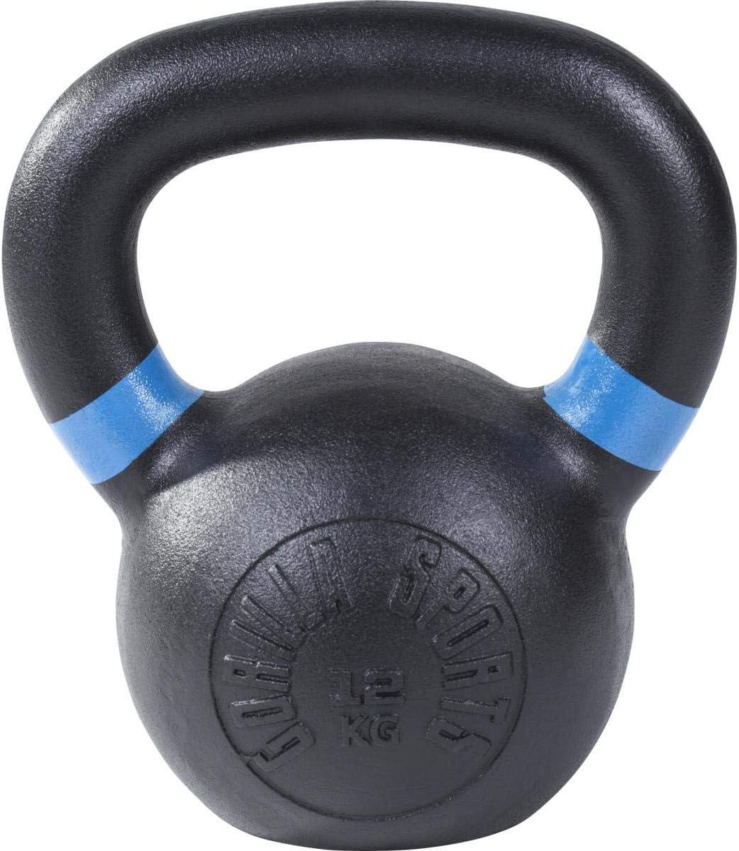 Halt/ère Russe Gorilla Sports Kettlebell en Fonte Noir avec Couleur ray/é poign/ées Disponible de 4kg /à 32kg
